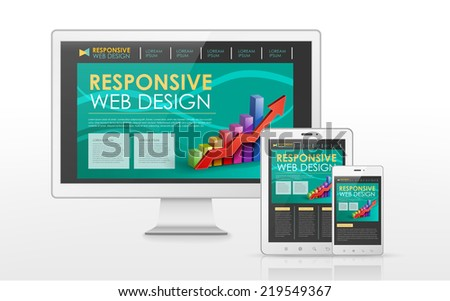 responsive web design concept in flat screen TV, tablet and smart phone - stock vector