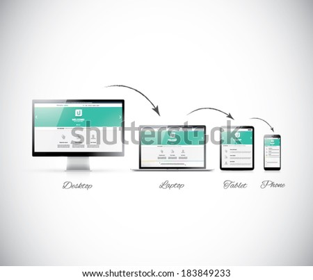 Responsive web design development in modern electronic devices - stock vector