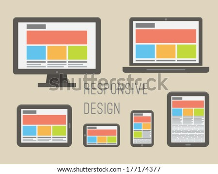 responsive web design illustration. - stock vector