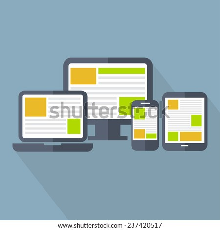 Responsive web design in electronic devices. Flat design vector illustration of mobile and desktop website - stock vector