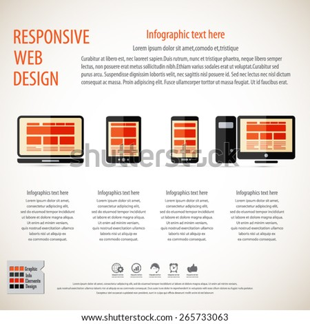 Responsive web design on different devices - technology background with masses of copy space for your text - EPS10 vector - All elements are in separate layer. - stock vector