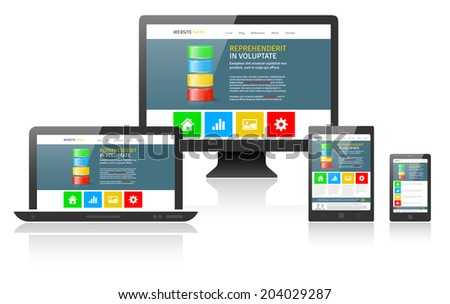 Responsive web design on different devices - vector illustration - stock vector
