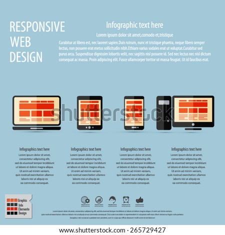 Responsive web design on different devices - with masses of copy space for your text - EPS10 vector - All elements are in separate layer. - stock vector