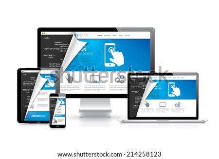 Responsive web design vector with html code script in background - stock vector
