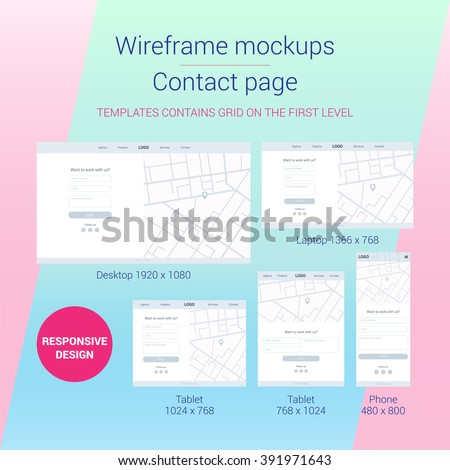 Responsive web design. Wireframe mockups. Flat and mimalistik style. Teamplates for desktop, laptop, tablet and phone devices. Site for web agency, design studio. Contact page. Prototype. Contact form - stock vector