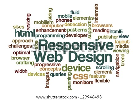 Responsive Web Design Word Cloud - stock vector