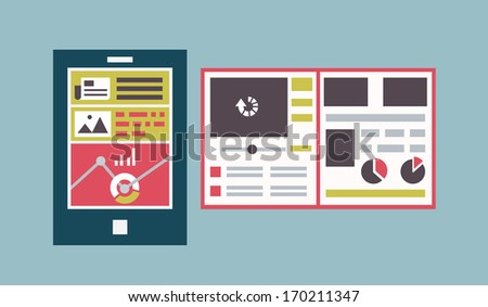 Responsive web template interface of mobile device. Tablet pc with flowcharts and site maps. Flat vector style - vector illustration - stock vector