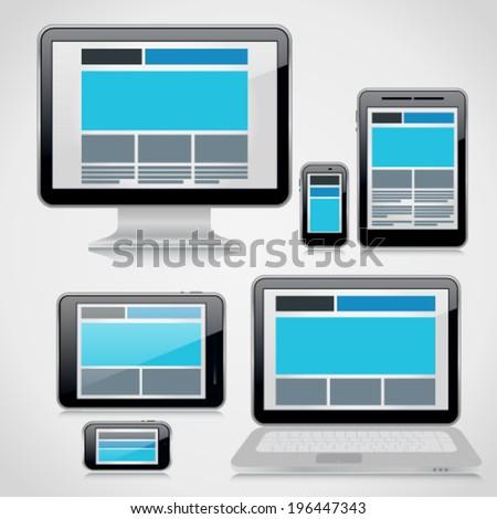 Responsive webdesign technology on 3d devices - computer desktop, tablet pc, smartphone, 10 eps - stock vector