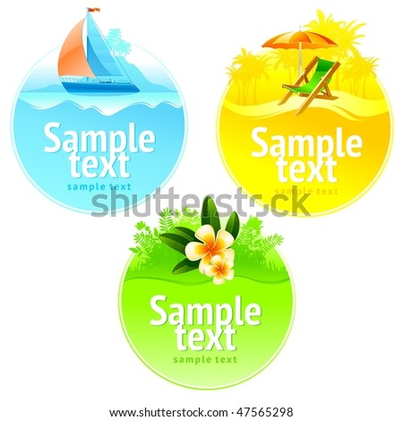 Rest and travel round frame - stock vector