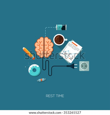 Rest time brain have a rest creative flat web infographic online service application internet business concept vector. Design elements for web and mobile applications, infographics and workflow layout - stock vector