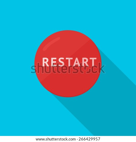 Restart Button with Shade - stock vector