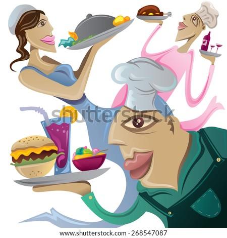 Restaurant Abstract Art, Amazing Chef, Menu Cover (Vector Art) - stock vector