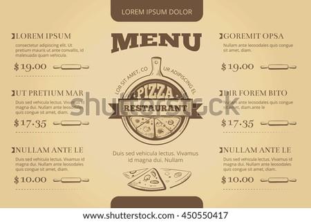 Restaurant cafe pizzeria menu vector template design. Menu for restaurant, illustration template menu for pizzeria - stock vector
