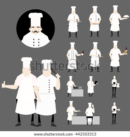 Restaurant Chef and waiter color vector illustration - stock vector