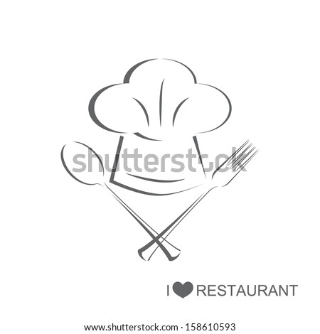 Restaurant 2, Chef hat with spoon and fork on isolated white background - stock vector