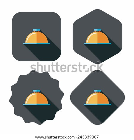 Restaurant cloche flat icon with long shadow,eps10 - stock vector
