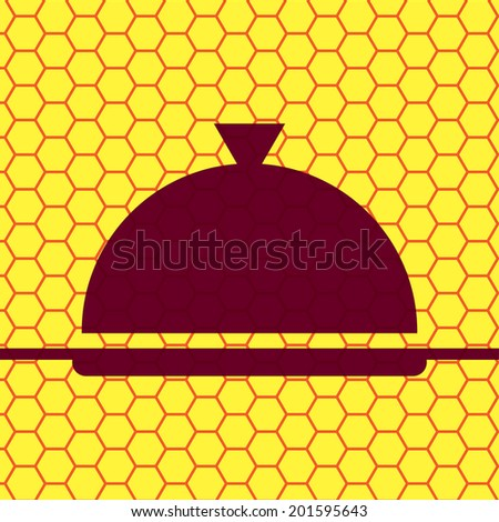 Restaurant cloche. Flat modern web button  and space for your text. Vector. EPS10 - stock vector