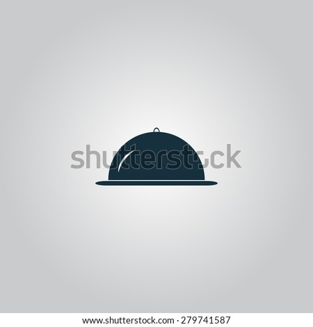 Restaurant cloche. Flat web icon or sign isolated on grey background. Collection modern trend concept design style vector illustration symbol - stock vector