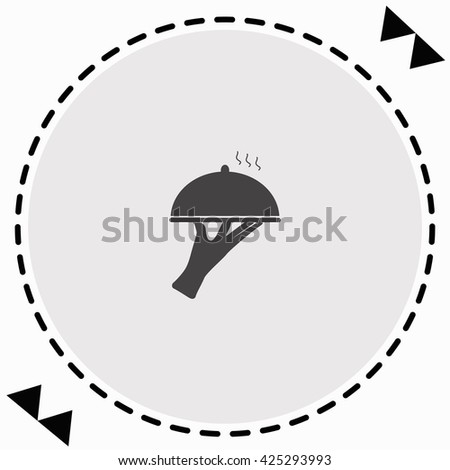 Restaurant cloche in hand the waiter icon Flat Design. Isolated Illustration. - stock vector