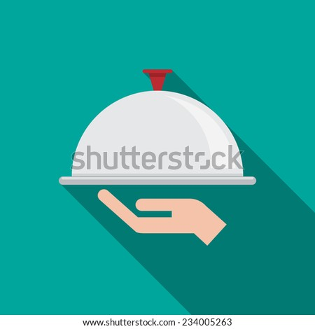 Restaurant cloche in hand the waiter. Vector illustration flat design with long shadow. - stock vector
