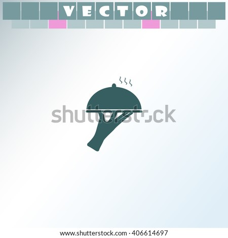 Restaurant cloche in the hand of the waiter vector. Simple icon isolated on light background. - stock vector