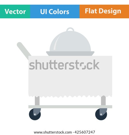 Restaurant  cloche on delivering cart icon. Vector illustration. - stock vector