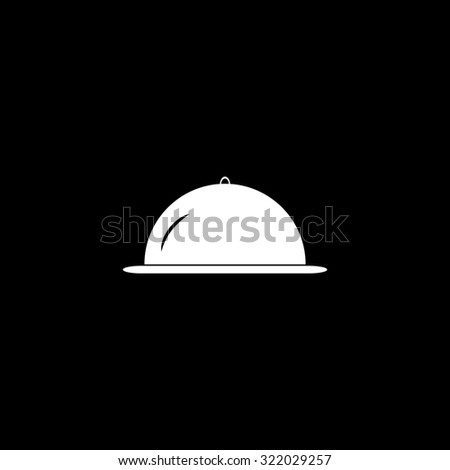 Restaurant cloche. Simple flat icon. Black and white. Vector illustration - stock vector