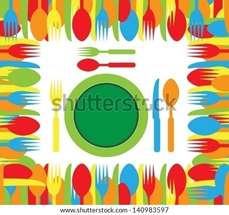 restaurant colorful cutlery set - stock vector