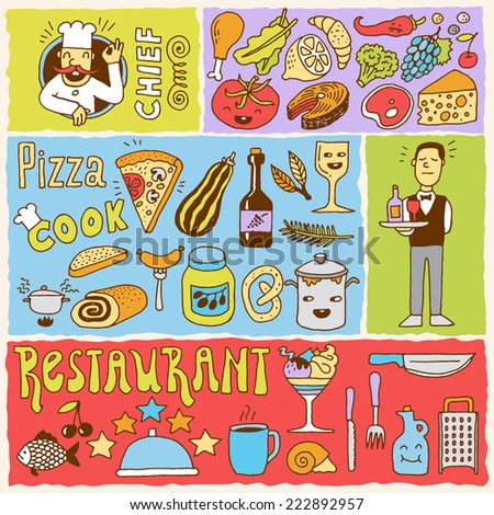Restaurant colorful doodle banners 1. Hand drawn. Vector illustration. - stock vector