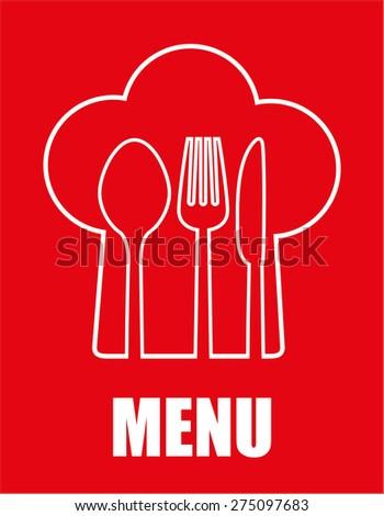 Restaurant design over red background, vector illustration. - stock vector