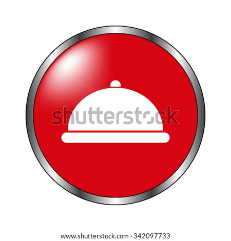 Restaurant dish - vector icon on the red  button - stock vector