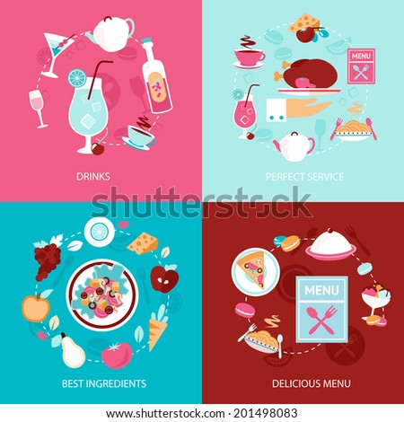 Restaurant drinks perfect service best ingredients delicious menu decorative icons set isolated vector illustration - stock vector