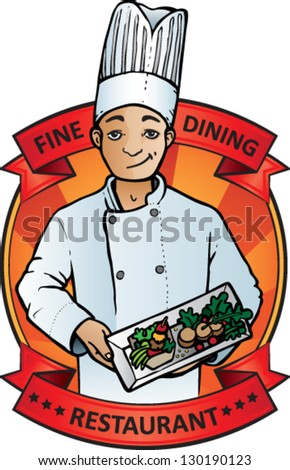 Restaurant emblem. Male Chef holding a plate of food with scroll for text - stock vector