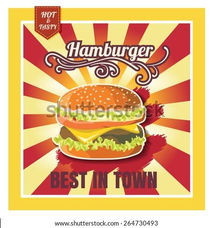 Restaurant Fast Foods menu burger on beautiful background vector format eps10 - stock vector