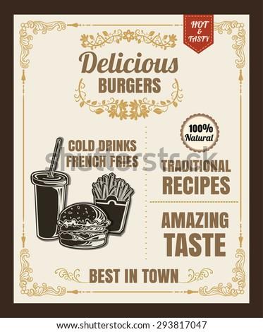 Restaurant Fast Foods menu burger vector format eps10 - stock vector