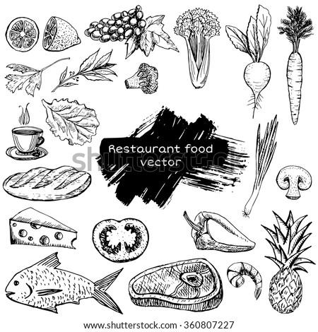 restaurant food - stock vector