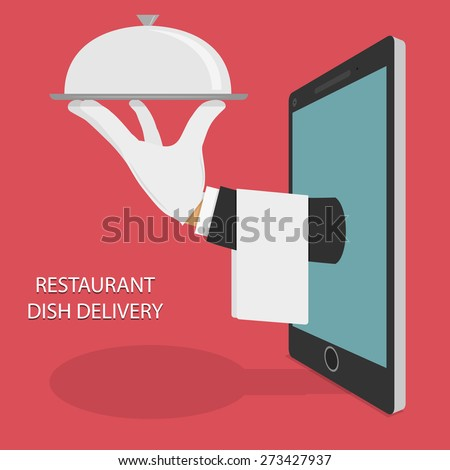 Restaurant Food Delivery Concept Flat Vector Illustration. Hand Of Water With Dish And Towel Appeared From Smartphone or Tablet. - stock vector