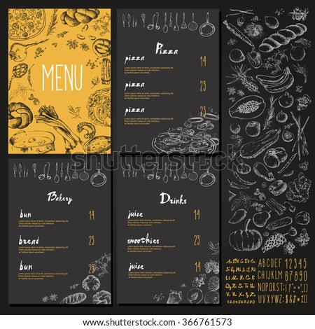 Restaurant Food Menu Vintage Design with blackboard chalk style Vector set - stock vector