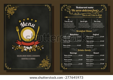 Restaurant Food Menu Vintage Design with Chalkboard Background vector  eps10 - stock vector