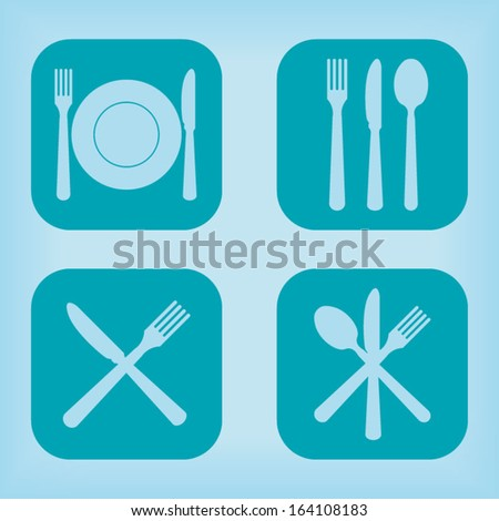 Restaurant icon - four variations - stock vector