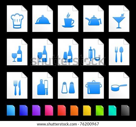 Restaurant Icon on Document Icon Collection Original Illustration - stock vector