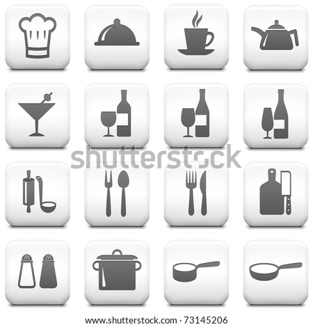 Restaurant Icon on Square Black and White Button Collection Original Illustration - stock vector