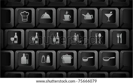 Restaurant Icons on Black Computer Keyboard Buttons Original Illustration - stock vector