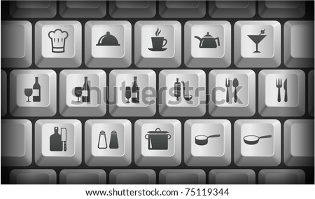 Restaurant Icons on Gray Computer Keyboard Buttons Original Illustration - stock vector