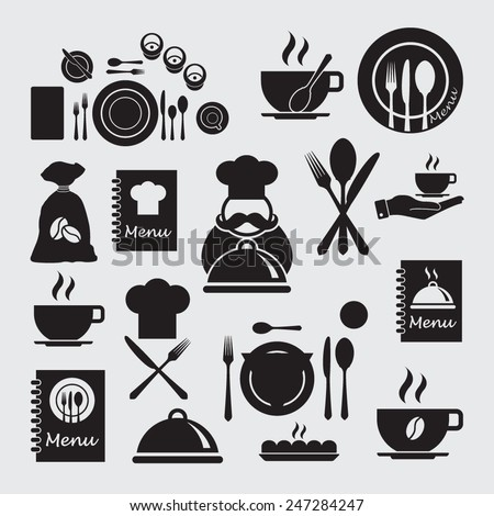 Restaurant icons set.Cooking and kitchen icons.  - stock vector