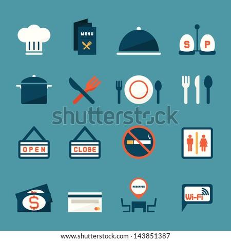 Restaurant icons, vector - stock vector