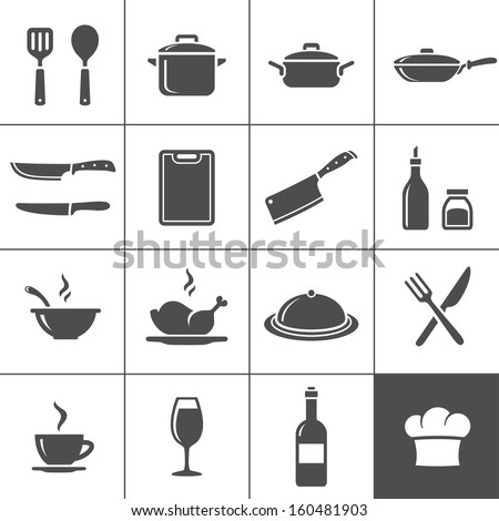 Restaurant kitchen and cooking icons. Simplus series. Vector illustration - stock vector