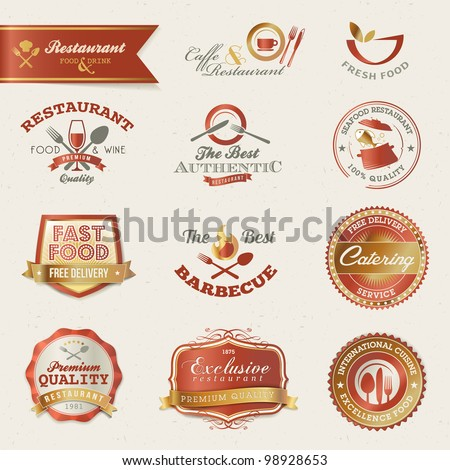 Restaurant labels and elements - stock vector