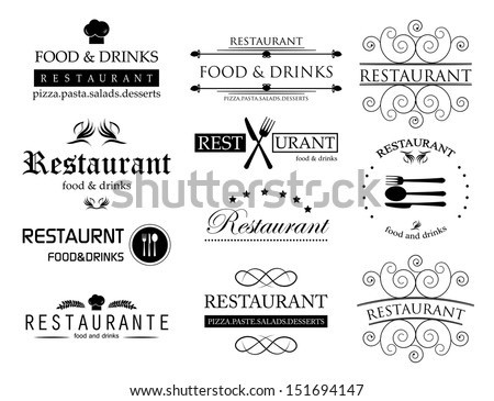 Restaurant Labels Set - Isolated On White Background - Vector Illustration, Graphic Design Editable For Your Design.   - stock vector