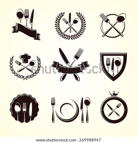 Restaurant labels set. Vector - stock vector